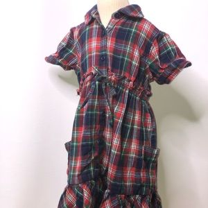 Ralph Lauren girls flannel plaid pocket dress